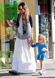 Alessandra looks hippie-chic in a faded scarf while out with her daughter for ice cream.