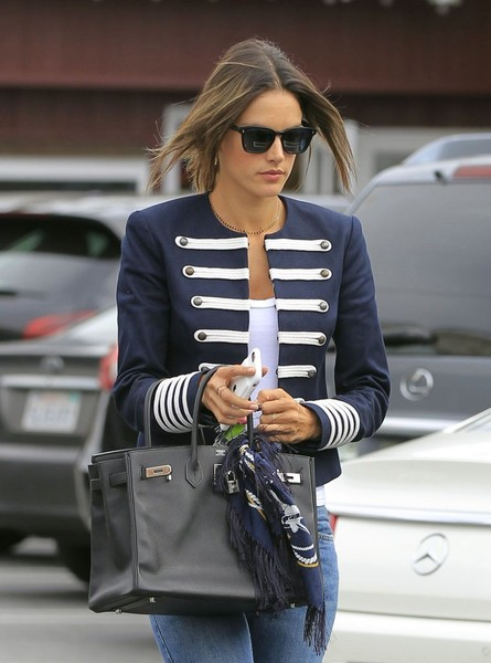 Alessandra Ambrosio took a stroll in Los Angeles toting the iconic Hermes Birkin, in black.