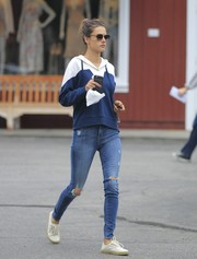 Alessandra Ambrosio was laid-back and sporty in a blue and white hoodie while out and about in Santa Monica.