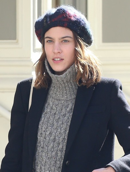 Alexa Chung was spotted out in New York City wearing a plaid wool beret.