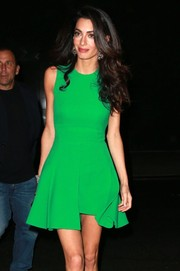 Ms. Clooney wore a bright green Versace dress while out in NYC.
