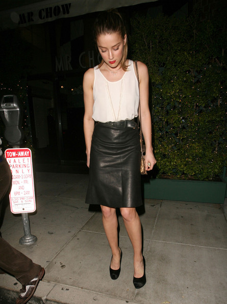 Amber Heard Knee Length Skirt