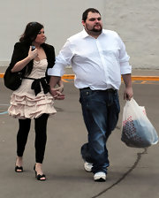 Amber Portwood gave her look a more casual feel by pairing her dress with black leggings underneath.
