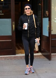 Amber Valletta kept warm with a black zip-up jacket while out in New York City.