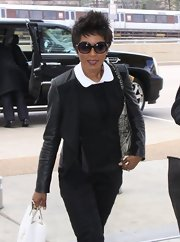 Angela Bassett stepped out in an all-black ensemble with this black leather jacket.