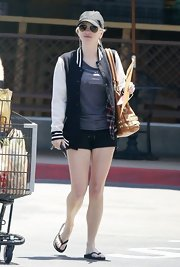 Anna Faris chose a classically preppy letterman jacket for her look while out in California.