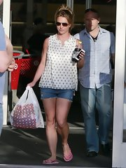 Britney Spears opted for a casual, sleeveless print blouse for her daytime look while out in California.