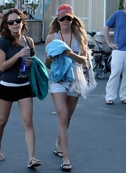 Ashley Tisdale kept cool in short shorts and casual flip flops.