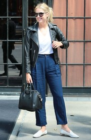 Ashley Benson was spotted outside the Bowery Hotel rocking a pair of high-waisted blue pants.