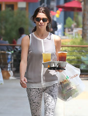 Ashley Greene was decked out in J Brand wearing the label's silky racer-back tank and floral capris.