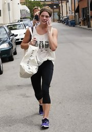 Ashley chose a graphic tank for her workout look while out in California.