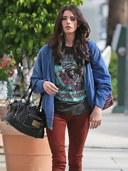 If anyone can make a rugged graphic tee look cool, it's Ashley Greene.