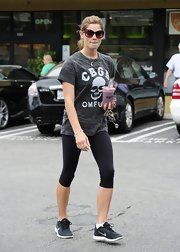 Ashley Greene showed her punk side with a burn out skull tee.