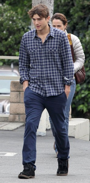 Ashton Kutcher kept it casual and comfy in a plaid button-down top while meeting friends in Hollywood.