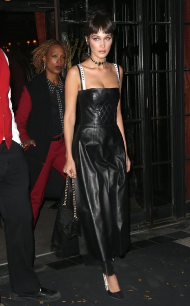 Bella Hadid Leather Dress