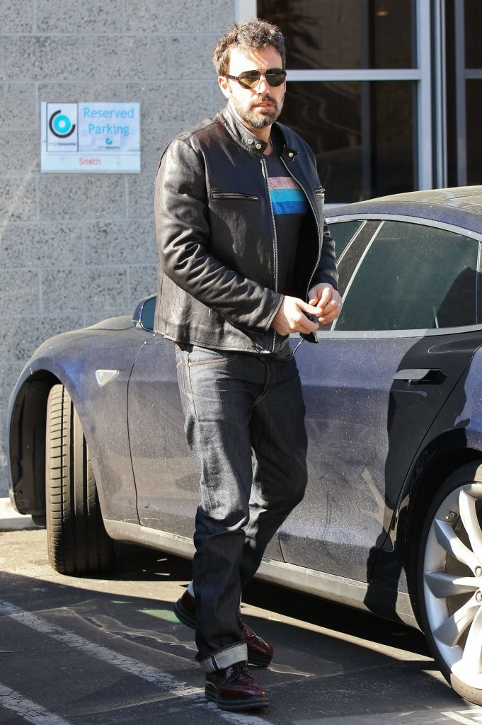Ben Affleck wears Mixed Media Moto Jacket (Jacket )