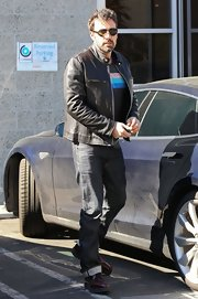 Ben Affleck kept his daytime look casual but cool with this black motorcycle jacket.