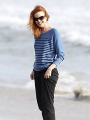 Marcia Cross chose a light-weight, striped sweater while out on the beach with her family.