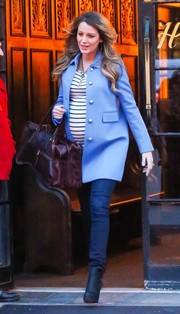 Blake Lively showed off stylish maternity wear in a colorful coat.