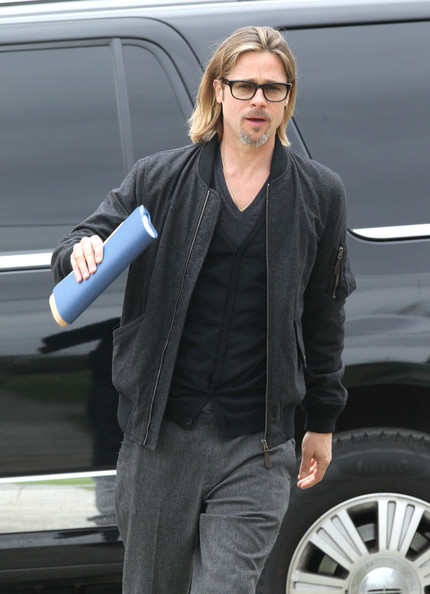 More Pics of Brad Pitt Bomber Jacket (2 of 26) - Brad Pitt Lookbook - StyleBistro