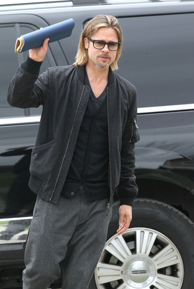 More Pics of Brad Pitt Bomber Jacket (1 of 26) - Brad Pitt Lookbook - StyleBistro