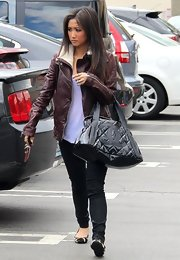 Brenda Song chose a dark burgundy leather jacket for her edgy daytime look while out in California.