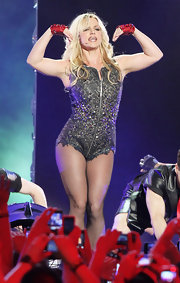Britney Spears showed off her sexy side in a bejeweled body suit while preforming on the 'Jimmy Kimmel Live!' show.