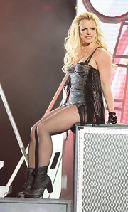 Britney Spears rocked out on stage at the 'Jimmy Kimmel Live!' show in lace up ankle boots.