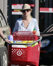 Britney Spears went on a Target run in a straw fedora.