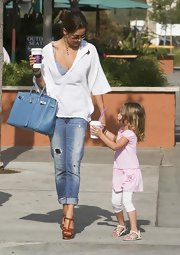 "TV personality Brooke Burke showed off her casual side while having an outing with her daughter. Her light blue ""Birkin"" bag was the perfect shade for a daytime affair."