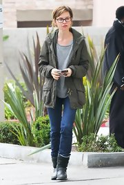 Calista Flockhart sported a cool utility jacket while running errands.