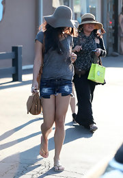 Vanessa Hudgens showed off her legs in distressed mini shorts.