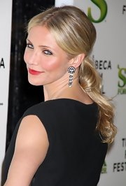 "Cameron Diaz showed off her sleek ponytail at the ""Shrek"" premiere in New York."