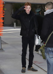 Cameron Monaghan wore stylish gray suede wingtip shoes with brown laces to interview with TMZ.