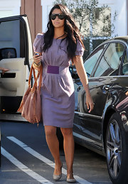 Camila Alves kept her cap sleeve dress casual with nude flats.