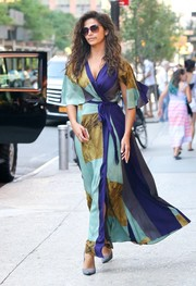 Camila Alves cut a diva-ish figure on the streets of New York City in a colorful ankle-length wrap dress by Tracy Reese.