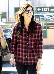 Camilla Belle went ultra modern with these mirrored shades by Karen Walker while grabbing lunch in Beverly Hills.
