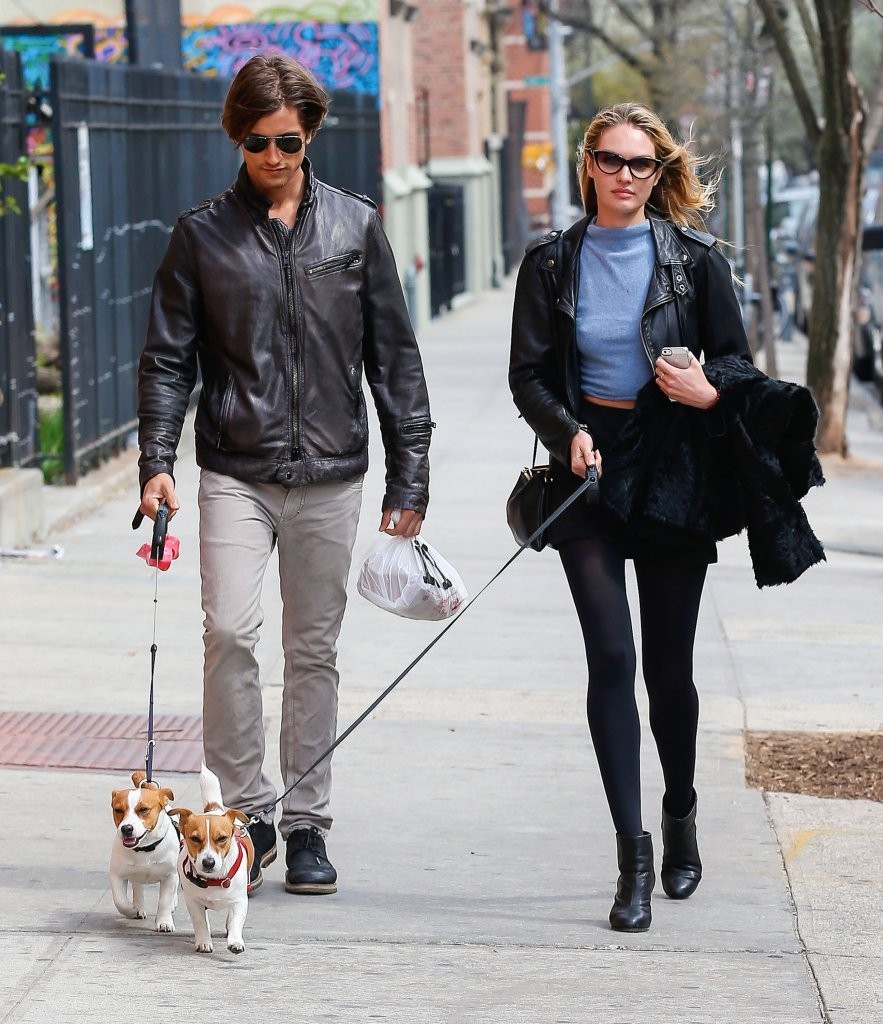 Candice Swanepoel & Hermann Nicoli Walking Their Dogs After Lunch