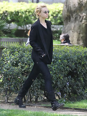 Carey Mulligan sported these black studded cowboy boots for a walk out in London.