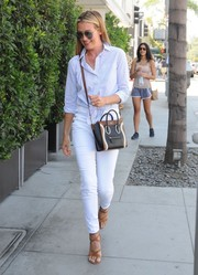 Cat Deeley was cool and classic in a baby-blue tie-waist button-down while out in Beverly Hills.
