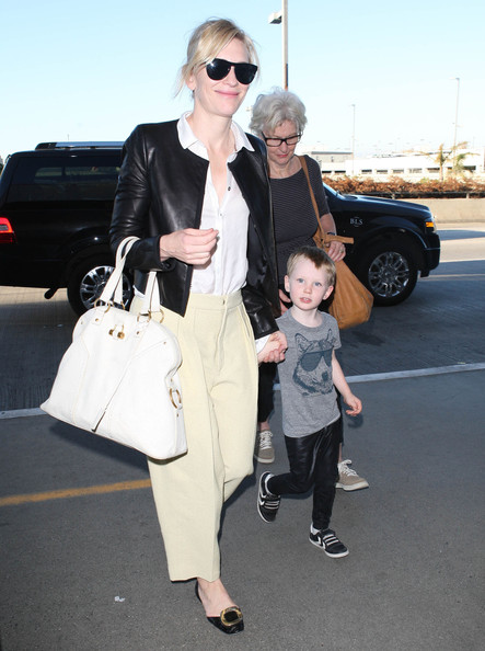 Cate Blanchett And Family Departing On A Flight At LAX