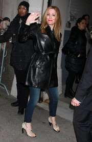 Leslie Mann arrived for the AOL Build event wearing a chic black leather coat.