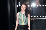 Actresses Kristen Stewart and Salma Hayek arrive at the Balenciaga Ready-To-Wear Fall/Winter 2012 show as part of Paris Fashion Week on March 1, 2012 in Paris, France.