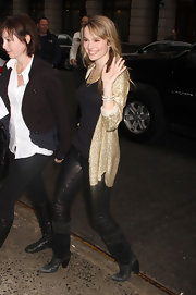 Bridgit Mendler's tight black leather pants brought a rock star vibe to her outfit.
