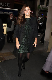 Nikki Reed wore a green leopard print dress with a '60s coat for her appearance on the 'Today' show.
