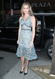 Rebecca Romijn was picture-perfect in a floral lace dress by Shoshanna while visiting 'The Today Show.'