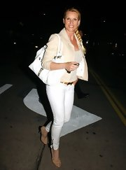 Nicollette Sheridan topped off her all-white look with a cream blazer.