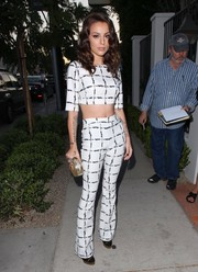 Cher Lloyd did matchy-matchy in edgy-chic style with this BCBGeneration print pants and crop-top ensemble.