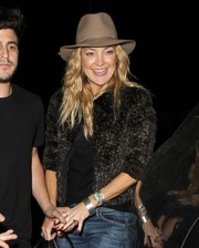 Kate Hudson was spotted at Nice Guy Restaurant wearing a stylish tan hat.