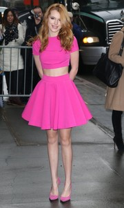 Bella Thorne looked sweet and girly in a hot-pink crop-top by AQ/AQ during her visit to 'The View.'